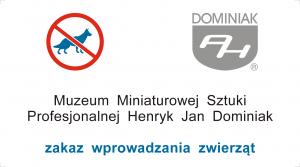 Wizytówka Muzeum zakaz wprowadzania zwierząt (psów, kotów i innych)